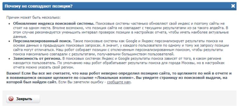 Сайт описывает почему могут не совпадать позиции