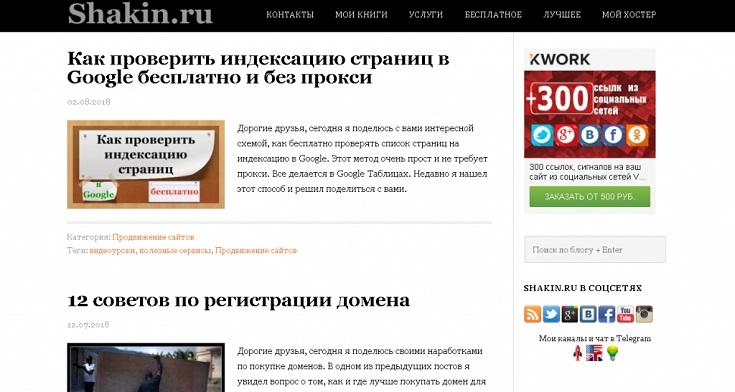 Скриншот блога Михаила Шакина