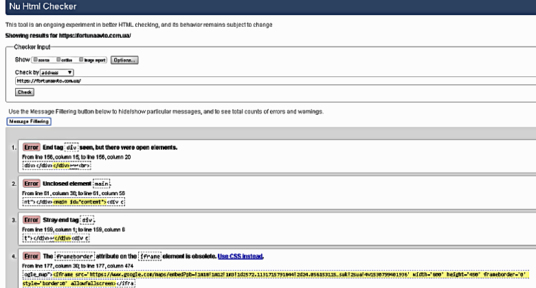 Анализ ошибок html